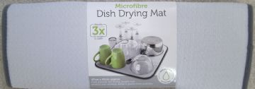 Light Grey Microfibre Dish Drying Mat 42x47cm Sink Drainer Washing Up